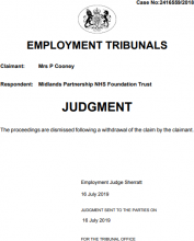 Mrs P Cooney V Midlands Partnership NHS Foundation Trust - 2416559 2018 - Preliminary - Withdrawn