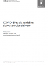 COVID-19 rapid guideline: dialysis service delivery: NICE guideline [NG160]: [Updated 07 August 2020]