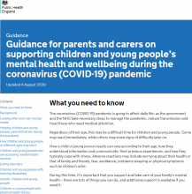 Guidance for parents and carers on supporting children and young people's mental health and wellbeing during the coronavirus (COVID-19) pandemic [ Updated 16th June 2020]