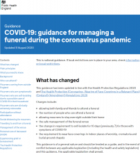 COVID-19  Guidance For Managing A Funeral During The Coronavirus Pandemic - GOV UK